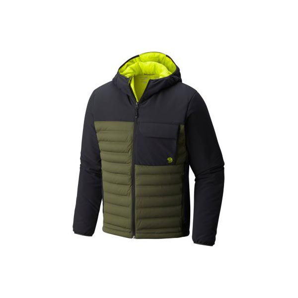 Men Mountain Hardwear StretchDown™ HD Hooded Jacket Surplus Green, Black Outlet Online