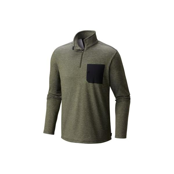 Mountain Hardwear Men Mainframe™ Long Sleeve 1/4 Zip Surplus Green On Sale